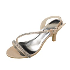Women's Satin Stiletto Heel Pumps Sandals With Crystal Chain