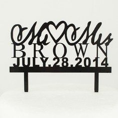 Personalized Letter Mr. & Mrs. Wood Wedding Cake Topper (119065439)