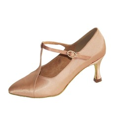 Women's Satin Heels Pumps Modern With T-Strap Dance Shoes