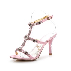 Women's Leatherette Stiletto Heel Sandals Peep Toe Slingbacks With Rhinestone Crystal Rivet Braided Strap shoes