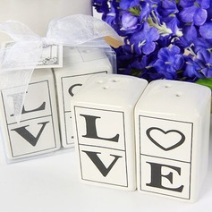 """Love"" Ceramic Salt & Pepper Shakers"