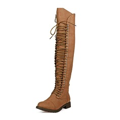 Women's Leatherette Flat Heel Boots Knee High Boots With Lace-up shoes