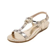 Kvinner Lær Flat Hæl Sandaler Flate sko Titte Tå Slingbacks med Rhinestone Crystal sko