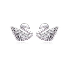 Swan Shaped Zircon/Platinum Plated Women's Earrings