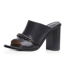 Women's Real Leather Chunky Heel Sandals Slippers shoes