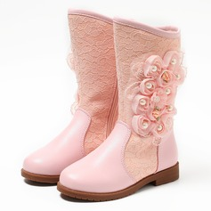 Girl's Real Leather Flat Heel Boots With Imitation Pearl Flower