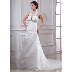A-Line/Princess Halter Court Train Satin Organza Wedding Dress With Beading Appliques Lace