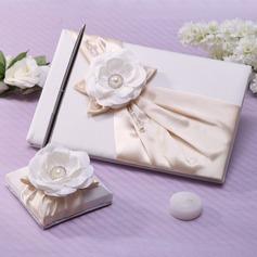 Elegante La perla de faux/Flor Libro de visitas & sistema de la pluma