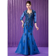 Trumpet/Mermaid Sweetheart Floor-Length Organza Mother of the Bride Dress With Embroidered Beading