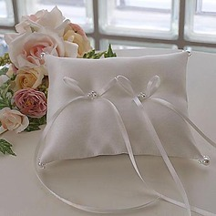 Ring Pillow In White Satin With Bow And Faux Pearl(103018311)