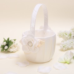 Pretty Flower Basket in Satin With Petals