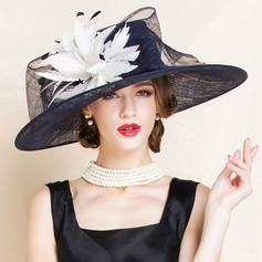 Ladies' Charming Summer Cambric With Feather Bowler/Cloche Hat (196075548)