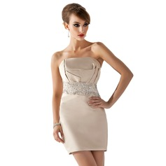 Sheath/Column Scalloped Neck Short/Mini Satin Cocktail Dress With Beading Sequins