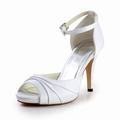 Women's Silk Like Satin Cone Heel Peep Toe Platform Sandals