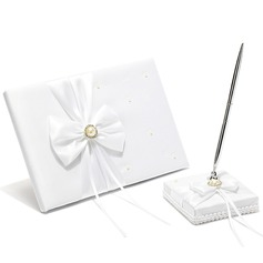 Classic Faux Pearl/Bow Guestbook & Pen Set