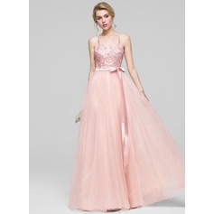 A-Line/Princess Sweetheart Floor-Length Tulle Bridesmaid Dress With Beading Sequins Bow(s)
