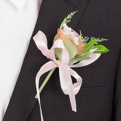 Fascinating Round Artificial Silk Boutonniere/Men's Accessories