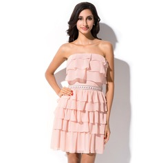 Sheath/Column Strapless Short/Mini Chiffon Homecoming Dress With Ruffle Beading Cascading Ruffles