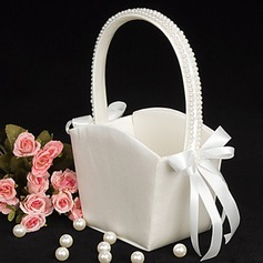 Flower Girl Basket in Ivory Satin With Pearl Lined Handle(102018039)