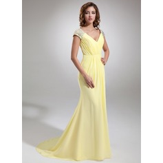 Trumpet/Mermaid V-neck Sweep Train Chiffon Evening Dress With Ruffle Beading