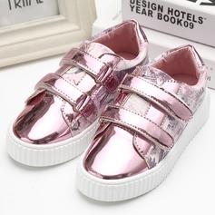 Girl's Leatherette Flat Heel Flats With Velcro