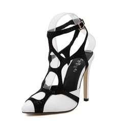 Women's Leatherette Stiletto Heel Sandals Pumps Closed Toe Slingbacks With Hollow-out Split Joint shoes
