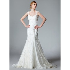 Trumpet/Mermaid V-neck Chapel Train Lace Wedding Dress With Ruffle