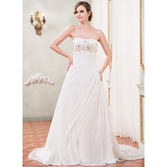 A-Line/Princess Sweetheart Cathedral Train Chiffon Wedding Dress With Beading Sequins Cascading Ruffles