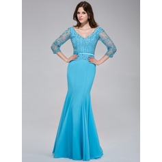 Trumpet/Mermaid V-neck Floor-Length Chiffon Evening Dress With Lace Beading Sequins