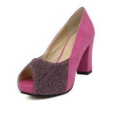 Femmes Similicuir Talon bottier Escarpins Plateforme À bout ouvert chaussures