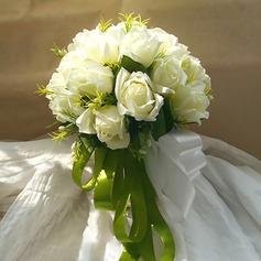 Style Classique Rond Satiné/Soie artificielle Sets de fleurs - Corsage du poignet/Boutonnière/Bouquets de mariée (123116139)