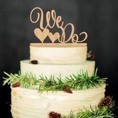 We Do Wood Cake Topper (Set of 2)