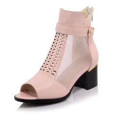 Women's Leatherette Chunky Heel Pumps Peep Toe Ankle Boots With Buckle Hollow-out shoes