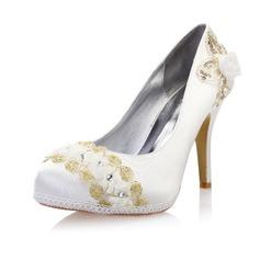 Women's Satin Stiletto Heel Closed Toe Platform Pumps With Rhinestone Satin Flower Stitching Lace
