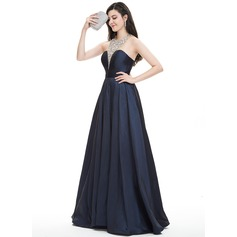 Ball-Gown Halter Floor-Length Taffeta Prom Dress With Beading Sequins