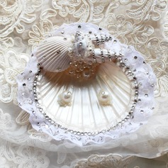 Eternity Ring Pillow in Seashell With Rhinestones/Faux Pearl/Lace