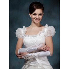 Elastic Satin Elbow Length Bridal Gloves (014020495)