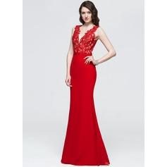 Sheath/Column V-neck Floor-Length Chiffon Prom Dress With Beading Sequins