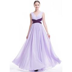 A-Line/Princess V-neck Floor-Length Chiffon Evening Dress With Ruffle Sash