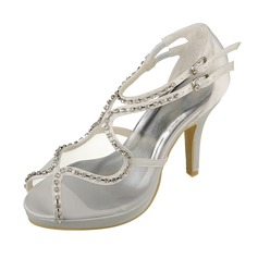 Women's Satin Stiletto Heel Peep Toe Platform Sandals With Buckle Rhinestone