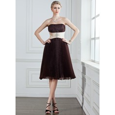 Empire Strapless Knee-Length Organza Bridesmaid Dress With Sash Beading Pleated