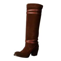 Women's Suede Low Heel Boots Mid-Calf Boots With Buckle shoes