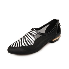 Patent Leather Flat Heel Flats Closed Toe With Animal Print shoes