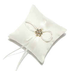 Mini Ring Pillow in Satin With Rhinestones