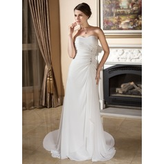 Sheath/Column Sweetheart Court Train Chiffon Wedding Dress With Ruffle Beading