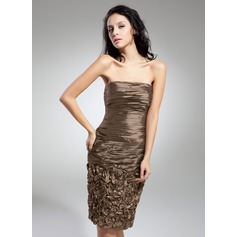 Sheath/Column Strapless Knee-Length Taffeta Cocktail Dress With Ruffle