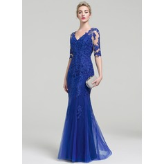 Trumpet/Mermaid V-neck Floor-Length Tulle Lace Evening Dress (017093459)