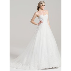 Ball-Gown Sweetheart Chapel Train Tulle Wedding Dress