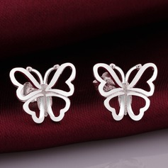 Butterfly Shaped Silver Plated Copper Ladies' Fashion Earrings