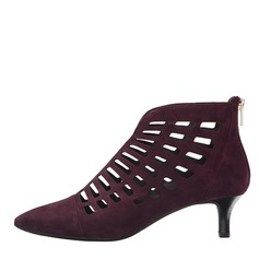 Women's Suede Kitten Heel Pumps Closed Toe Boots Ankle Boots With Hollow-out shoes